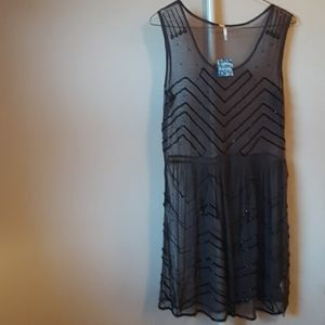 NWT FREE PEOPLE STARRY NIGHT DRESS CHARCOAL M